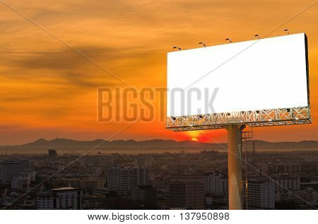 Blank Billboard For Advertisement With Sunset In City