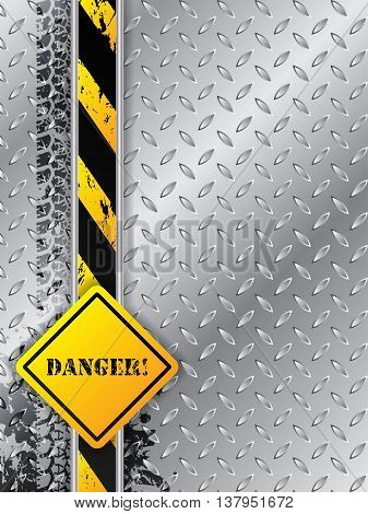 Abstract industrial background design with tire tracks metallic plate with danger text