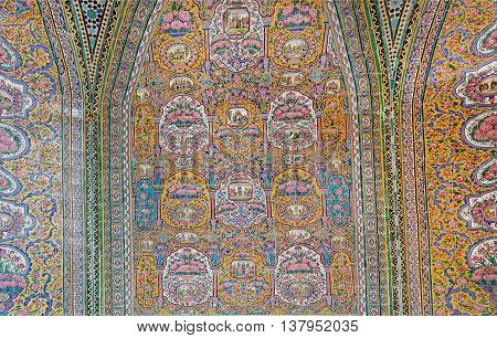 SHIRAZ, IRAN - OCT 21, 2014: Old tiles with retro patterns inside the mosque Nasir ol Molk with traditional artworks on October 21, 2014. Qajar era Pink Mosque was built in 1888