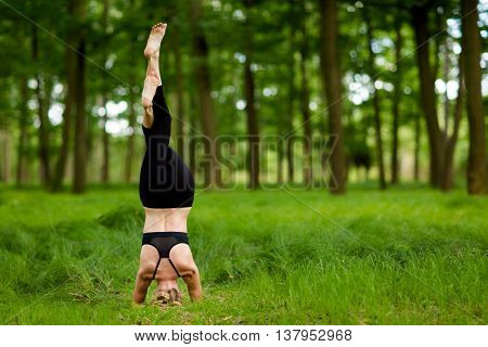 Beautiful Yoga Session In Woods