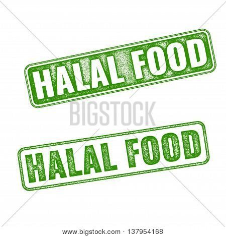 Set Of Realistic Vector Halal Food Rubber Stamp