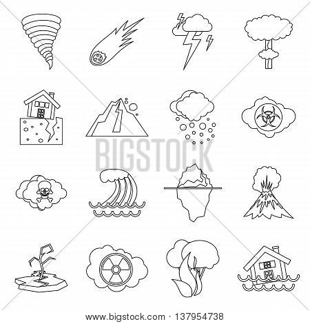 Natural disaster icons set in outline ctyle. Catastrophe and crisis set collection vector illustration