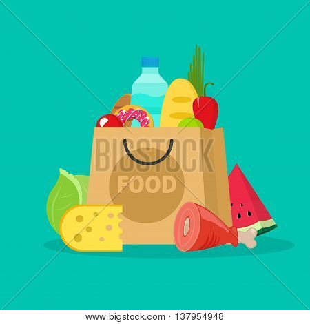 Grocery bag vector illustration isolated on white, paper bag of groceries flat cartoon shopping bag with fresh products