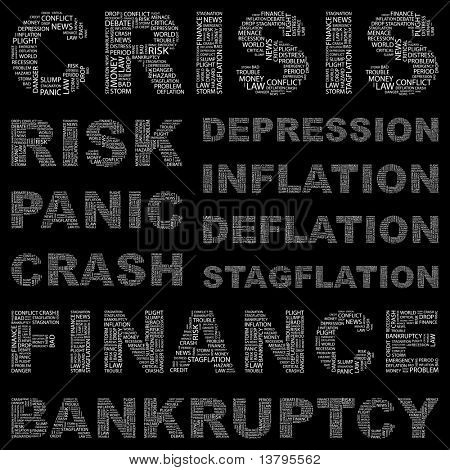 CRISIS. Word association. Illustration with different association terms.