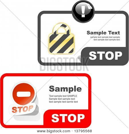 STOP. Banner set for design. Vector illustration.