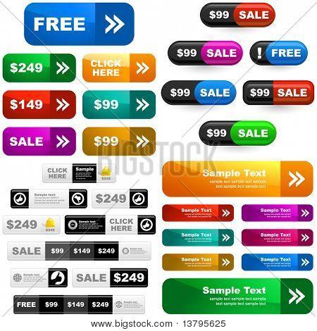 Set of design elements for sale. Vector banner set for sale.