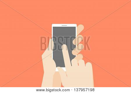 Hand holding smartphone with one finger over touchscreen. Flat vector conceptual illustration.