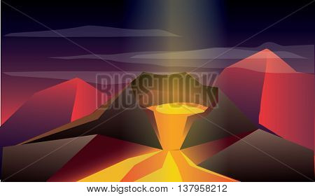 low polygon illustration of natural disasters volcano