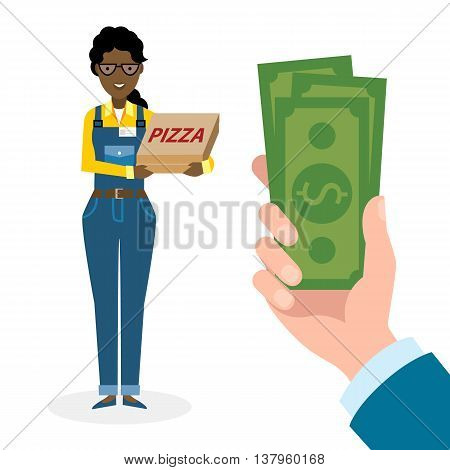 Money for delivery. African american female cartoon character. Pizza woman gets money. Hand holding dollars for pizza. Happy smiling pizza girl. Pizza restaurant. Fast delivery.