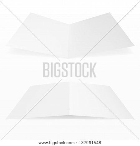 Blank Fold Paper Leaflet, Flyer, Broadsheet, Flier, Follicle, Leaf A4 With Shadows.