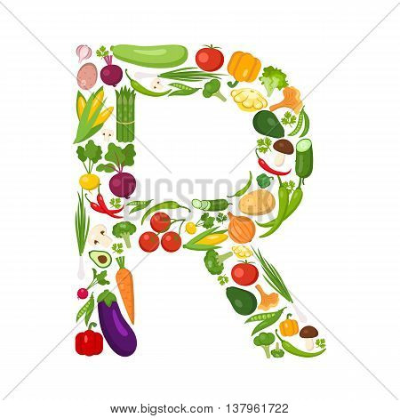 R letter from vegetables. Green alphabet. Fresh green vegetables for healthcare. Healthy diet concept. All vegetables like carrot, onion, tomato, pepper, cucumber, cabbage.
