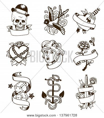 Old school tattoo elements vector set. Cartoon vector tattoos in funny style anchor, dagger, skull, flower, star, heart and old vintage ink hand drawn tattoo. Woman head rose thorns and wounded heart