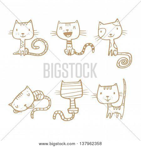 Cartoon doodle cats set. Six little cute kittens. Children's illustration. Funny animals. Vector contour image no fill.