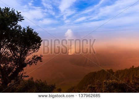 Mountain Bromo volcano on island Java - Indonesia- travel and nature background