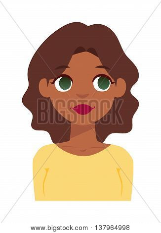Portrait young quiet woman vector illustration. Cute quiet woman and flat avatar quiet woman face. Adult quiet woman, flat character gesture beauty lips mouth. One silent girl avatar.