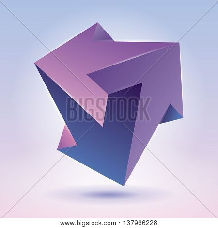 Impossible shape, unreal arrows, color crystal, abstract vector object