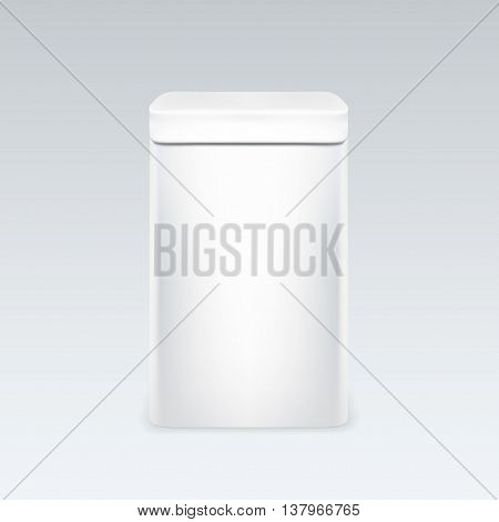 White tin box packaging container for tea or coffee. metall trash. vector