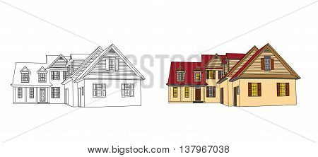 house design and the finished house. vector illustration