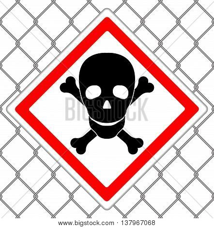 Steel mesh seamless texture with sign of skull