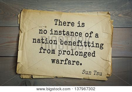 Ancient chinese strategist and philosopher Sun Tzu quote on old paper background. There is no instance of a nation benefitting from prolonged warfare.