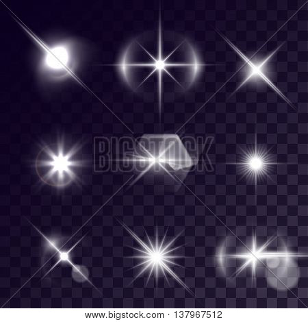 Vector starlights effects. Set of white flashes on transparent background. Release clipping mask for work.