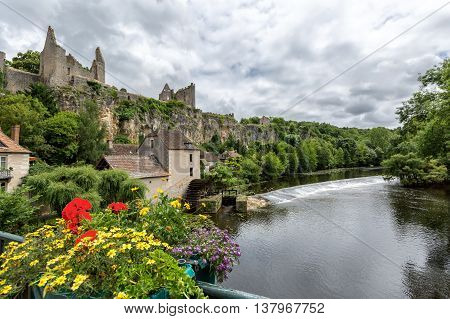 Ruins of the old Fortress at Angles-sur-l'Anglin, France