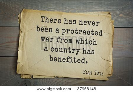 Ancient chinese strategist and philosopher Sun Tzu quote on old paper background. There has never been a protracted war from which a country has benefited.
