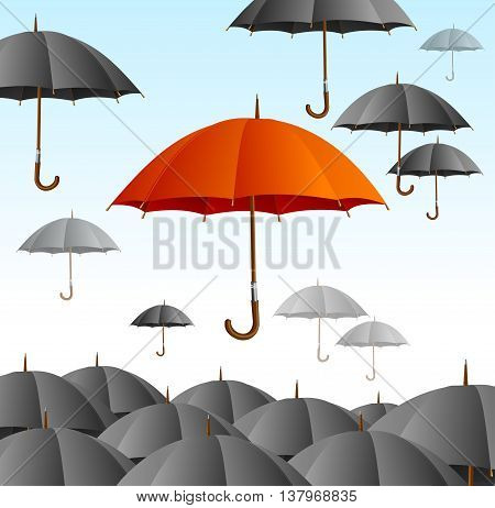 Red Umbrella on Black Fly High. Floating in the Air, Can be Used for Cards. Vector illustration