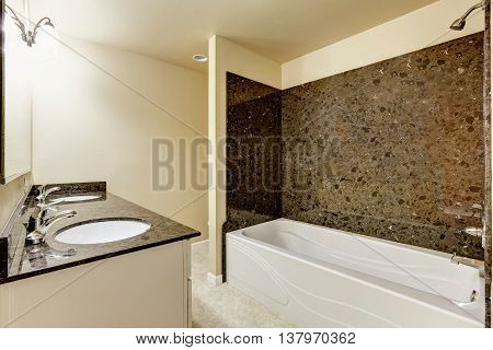 Modern Bathroom Interior With Black Granite Tile