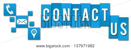 Contact us concept image with text and related symbols.