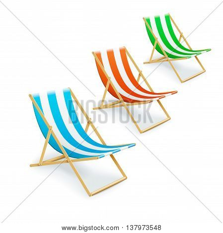 Set Of Stripped Deck-chairs Beach Inventory