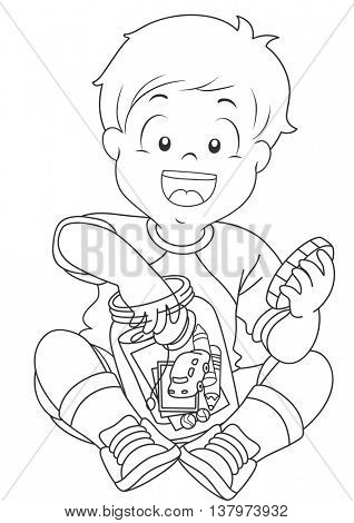 Black and White Illustration of a Boy Storing Trinkets in a Jar