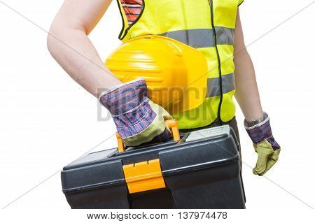 Worker With Yellow Helment Holds Toolbox. Isolated On White Back