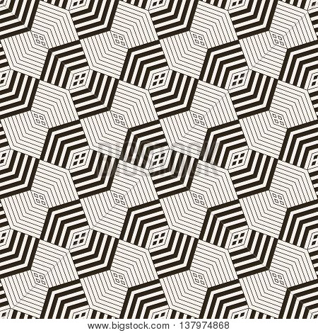 Art deco seamless pattern. Stylish modern geometric texture. Repeating polygonal shapes corner lines rhombuses. Vector abstract background