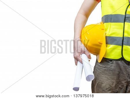 Worker (engineer) In Yellow Reflective Vest Holds Papers. Isolat