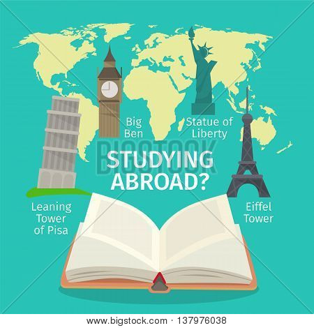 Abroad studying foreign languages concept. Colorful travel flat style illustration.