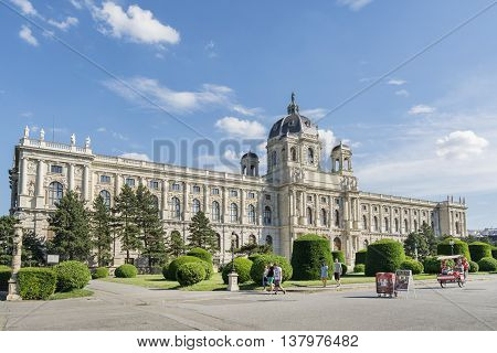 VIENNA, AUSTRIA, JULY 1,2016: Exterior shot of Kunsthistorisches Museum (Art History Museum), housed in its festive palatial building on Ringstrasse, it is crowned with an octagonal dome.