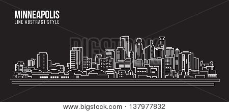 Cityscape Building Line art Vector Illustration design - Minneapolis city