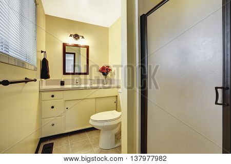 Beige Bathroom Interior With Tile Floor