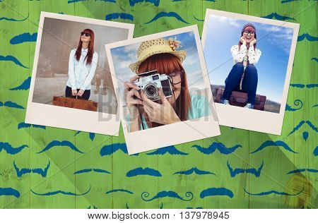 Portrait of a smiling hipster woman holding retro camera against composite image of mustaches