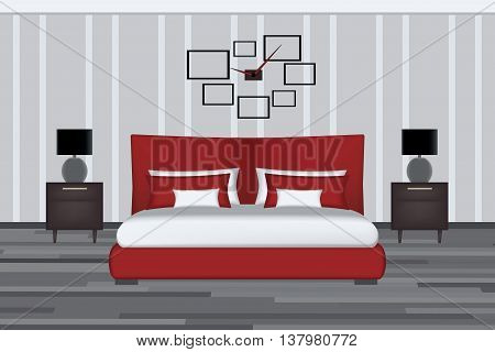 Bedroom Illustration. Elevation Room with Bed, Side Table and Lamp. Furniture Set for Yout Interior Design.