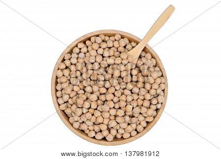 Bamboo bowl with chick peas on white background