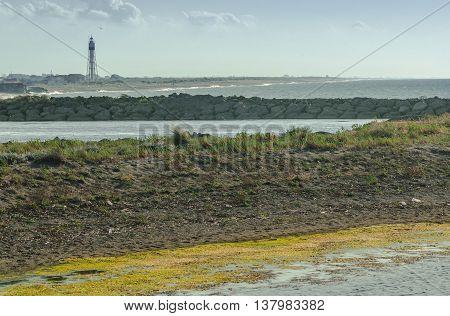 Lighthouse and the Kizilirmak river delta, Turkey