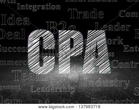 Business concept: Glowing text CPA in grunge dark room with Dirty Floor, black background with  Tag Cloud