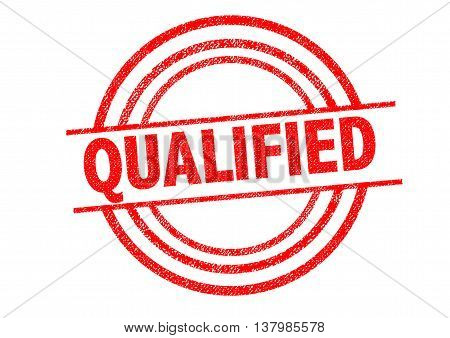 QUALIFIED Rubber Stamp over a white background.