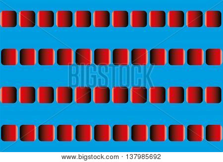 Illusory motion, optical illusion - the rows of red squares seem to sway leftward and rightward, and to run counter - seamless pattern with option to write your text between the moving lines., vector
