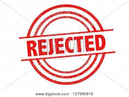 REJECTED Rubber Stamp over a white background.