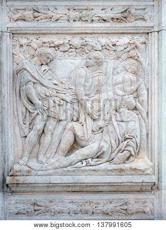 BOLOGNA, ITALY - JUNE 04: The Noah elation, relief on portal of Saint Petronius Basilica in Bologna, Italy, on June 04, 2015