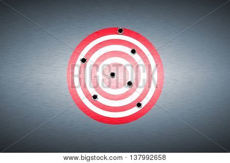 bullet hole on target. metal background. concept design. 3D illustration