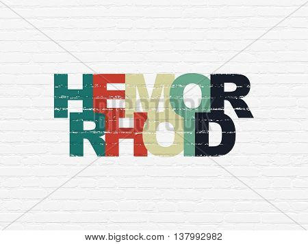 Medicine concept: Painted multicolor text Hemorrhoid on White Brick wall background
